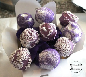 Purple Cake Pops www.newsanchortohomemaker.com