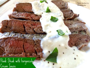 Flank Steak with Gorgonzola Cream Sauce www.newsanchortohomemaker.com