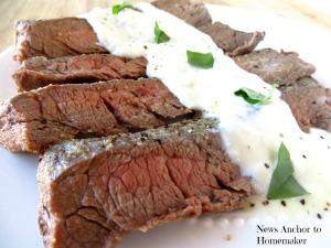 Flank Steak with Gorgonzola Sauce on www.newsanchortohomemaker.com