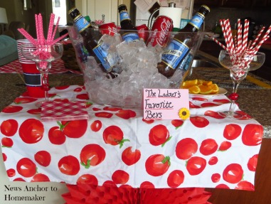 Beverage Bar for Baby-Q Shower with Paper Straws on NewsAnchorToHomemaker