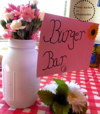 Burger Bar for a Baby-Q Shower on NewsAnchorToHomemaker